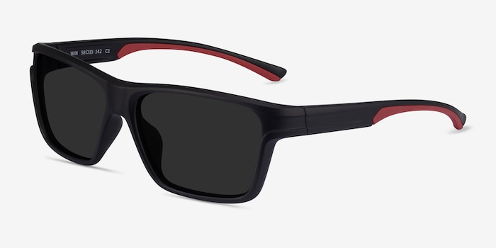 Win Black & Red Plastic Sunglass Frames from EyeBuyDirect, Angle View