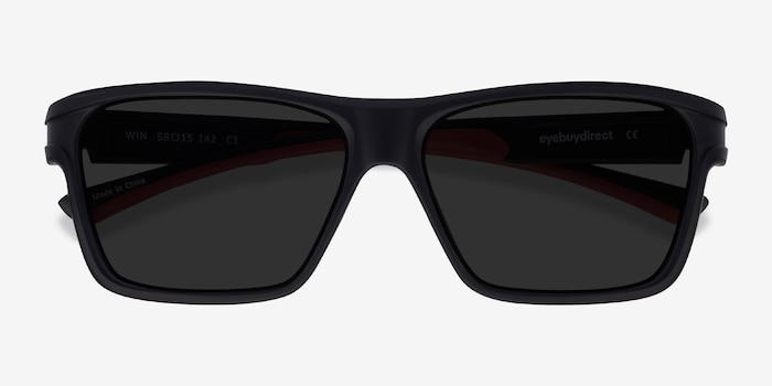Win Black & Red Plastic Sunglass Frames from EyeBuyDirect, Closed View