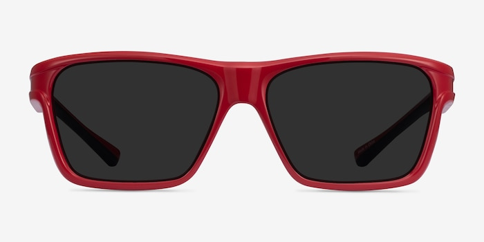 Win Red & Black Plastic Sunglass Frames from EyeBuyDirect, Front View