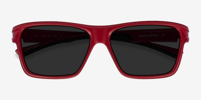 Win Red & Black Plastic Sunglass Frames from EyeBuyDirect, Closed View
