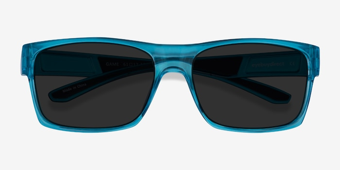 Game Blue Plastic Sunglass Frames from EyeBuyDirect, Closed View