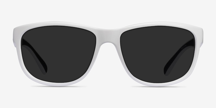 Determined White Plastic Sunglass Frames from EyeBuyDirect, Front View
