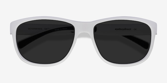 Determined White Plastic Sunglass Frames from EyeBuyDirect, Closed View