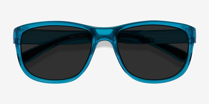 Determined Blue Plastic Sunglass Frames from EyeBuyDirect, Closed View