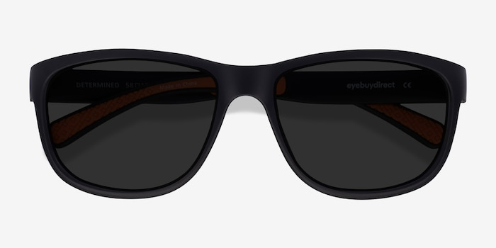 Determined Black Plastic Sunglass Frames from EyeBuyDirect, Closed View