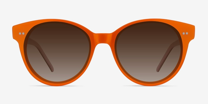 Angie Orange Acetate Sunglass Frames from EyeBuyDirect, Front View