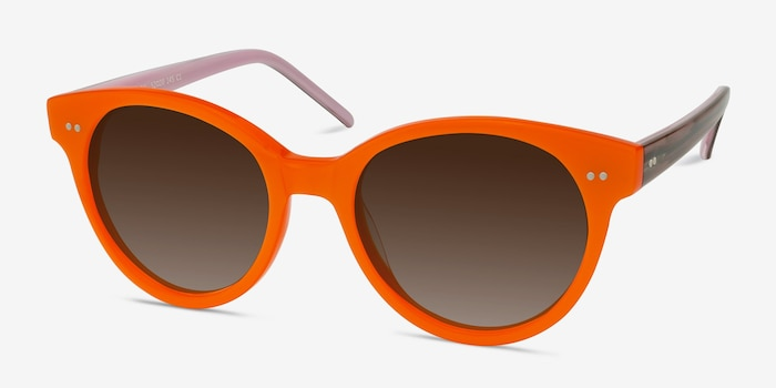 Angie Orange Acetate Sunglass Frames from EyeBuyDirect, Angle View