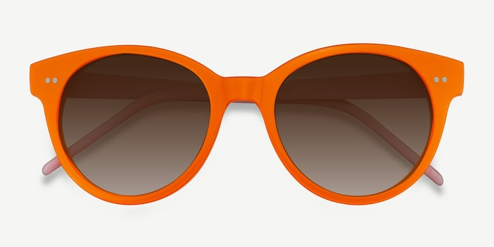 Angie Orange Acetate Sunglass Frames from EyeBuyDirect, Closed View