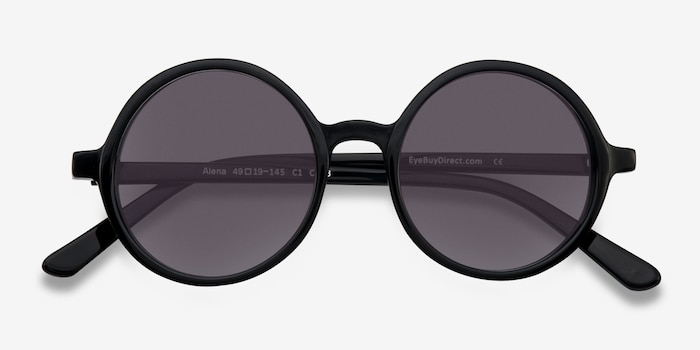 Alena Black Acetate Sunglass Frames from EyeBuyDirect, Closed View