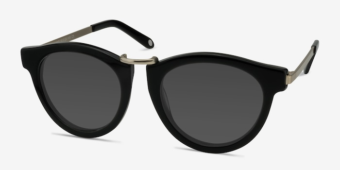 Milano Black Acetate Sunglass Frames from EyeBuyDirect, Angle View