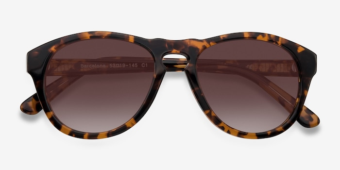 Barcelona Brown/Tortoise Plastic Sunglass Frames from EyeBuyDirect, Closed View