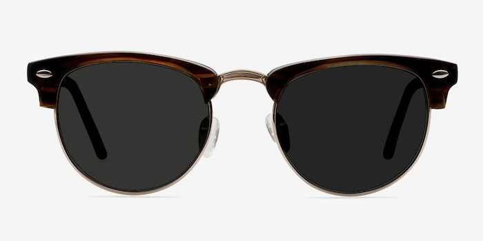 The Hamptons Brown Golden Metal Sunglass Frames from EyeBuyDirect, Front View