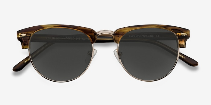 The Hamptons Brown Golden Metal Sunglass Frames from EyeBuyDirect, Closed View
