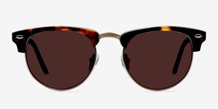 The Hamptons Golden Tortoise Metal Sunglass Frames from EyeBuyDirect, Front View