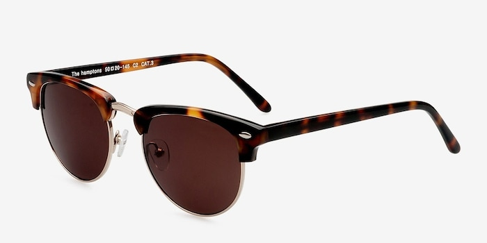 The Hamptons Golden Tortoise Metal Sunglass Frames from EyeBuyDirect, Angle View