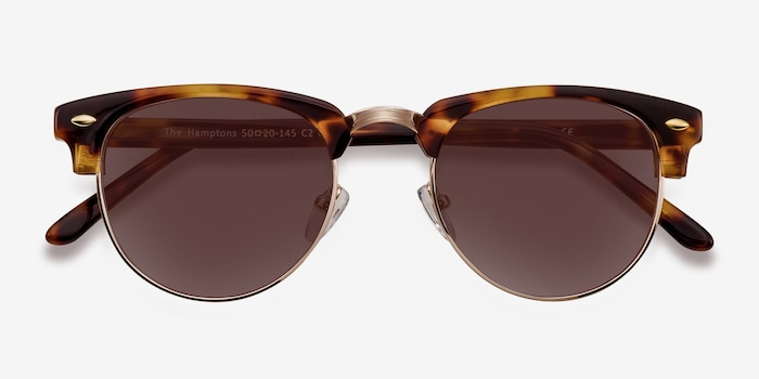 The Hamptons Golden Tortoise Metal Sunglass Frames from EyeBuyDirect, Closed View