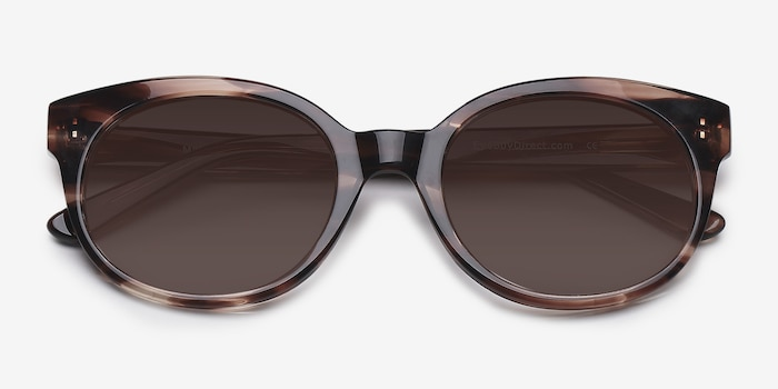 Matilda Brown/Tortoise Acetate Sunglass Frames from EyeBuyDirect, Closed View
