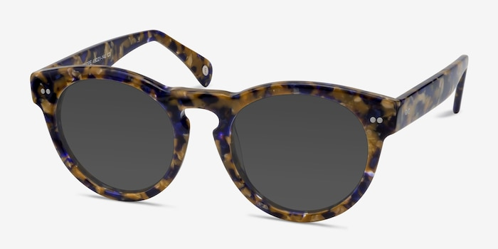 Penelope Blue/Tortoise Plastic Sunglass Frames from EyeBuyDirect, Angle View