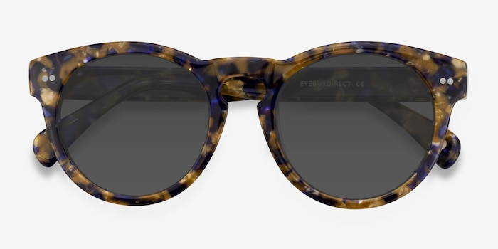 Penelope Blue/Tortoise Plastic Sunglass Frames from EyeBuyDirect, Closed View