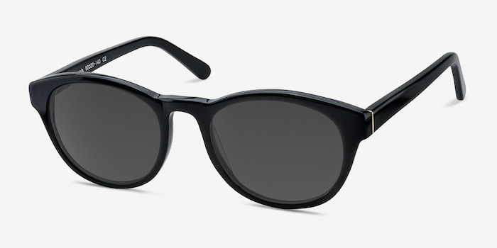 Coppola Black Plastic Sunglass Frames from EyeBuyDirect, Angle View