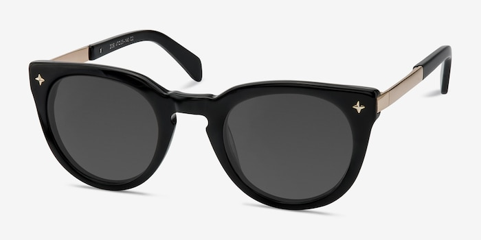 Zoe Black Acetate Sunglass Frames from EyeBuyDirect, Angle View