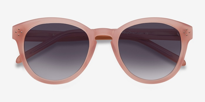 Augustine Pink Plastic Sunglass Frames from EyeBuyDirect, Closed View