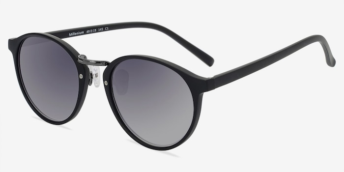 Millenium Matte Black Plastic Sunglass Frames from EyeBuyDirect, Angle View