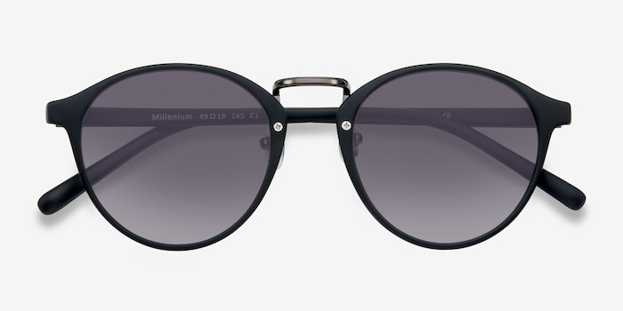 Millenium Matte Black Plastic Sunglass Frames from EyeBuyDirect, Closed View