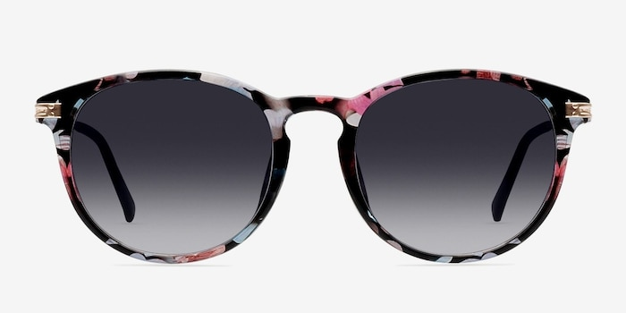 Monroe Pink/Floral Plastic Sunglass Frames from EyeBuyDirect, Front View