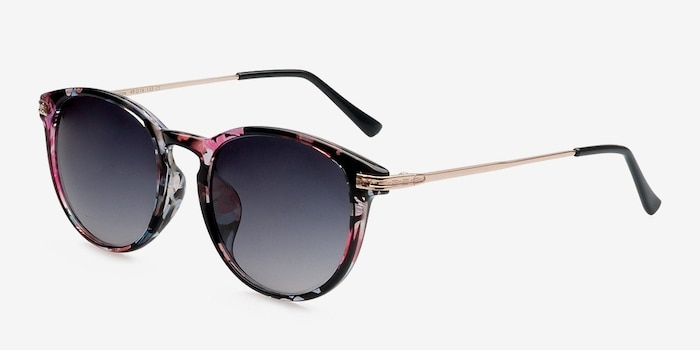 Monroe Pink/Floral Plastic Sunglass Frames from EyeBuyDirect, Angle View