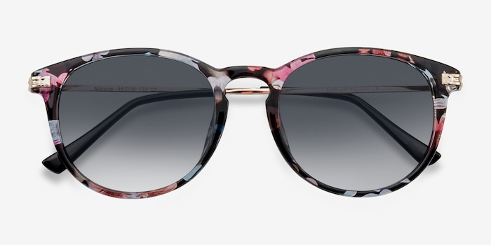 Monroe Pink/Floral Plastic Sunglass Frames from EyeBuyDirect, Closed View