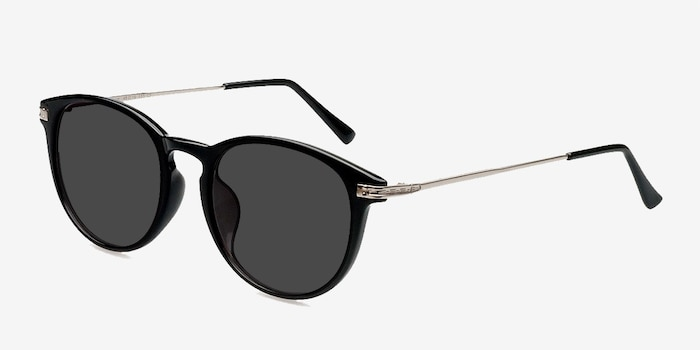 Monroe Black Silver Plastic Sunglass Frames from EyeBuyDirect, Angle View