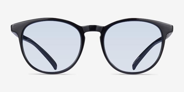 Deja Vu Noir Plastique Soleil de Lunettes d'EyeBuyDirect, Vue de Face