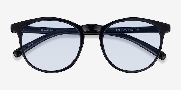 Deja Vu Noir Plastique Soleil de Lunettes d'EyeBuyDirect, Vue Rapprochée