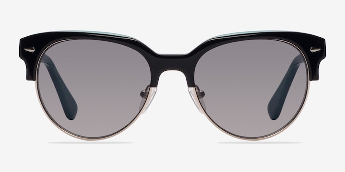 Carven Black Plastic Sunglass Frames from EyeBuyDirect, Front View