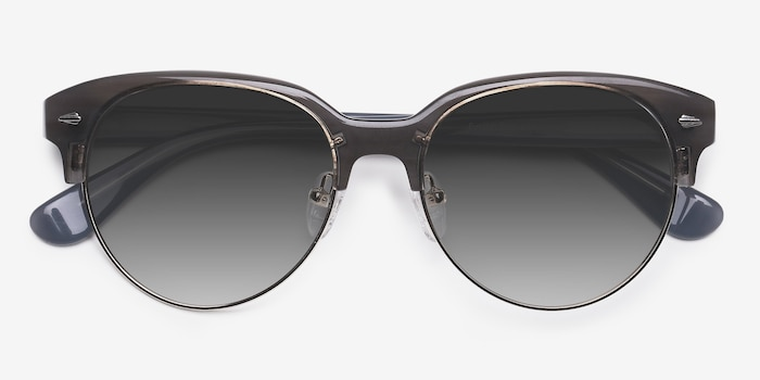 Carven Gray Plastic Sunglass Frames from EyeBuyDirect, Closed View