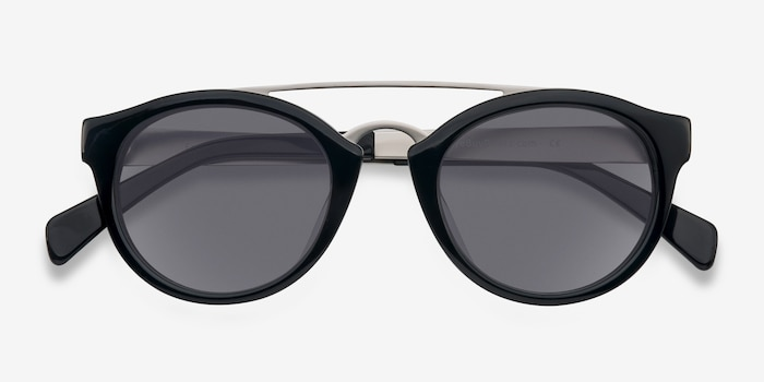 Enzo Black Acetate Sunglass Frames from EyeBuyDirect, Closed View