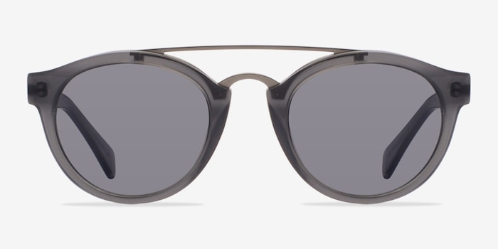 Enzo Matte Gray Metal Sunglass Frames from EyeBuyDirect, Front View