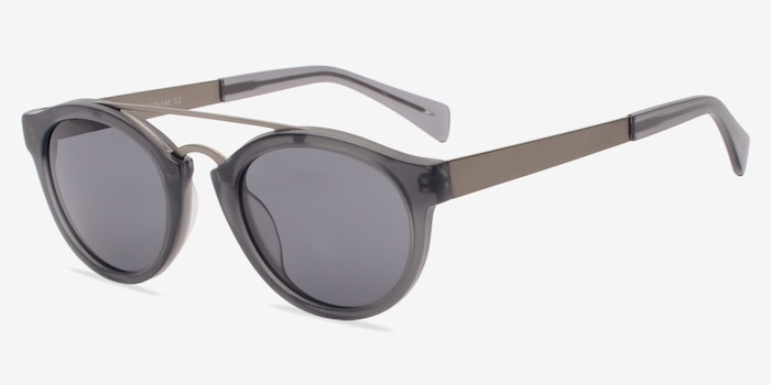 Enzo Matte Gray Metal Sunglass Frames from EyeBuyDirect, Angle View
