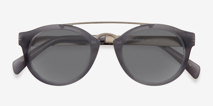 Enzo Matte Gray Metal Sunglass Frames from EyeBuyDirect, Closed View