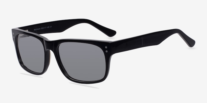 Baltimore  Black  Acetate Sunglass Frames from EyeBuyDirect, Angle View