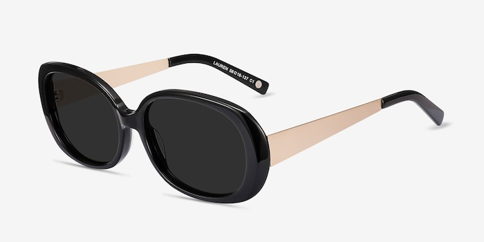 Lauren Black Acetate-metal Sunglass Frames from EyeBuyDirect, Angle View
