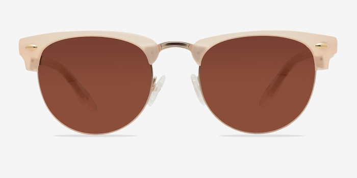 The Hamptons Matte Beige Acetate Sunglass Frames from EyeBuyDirect, Front View