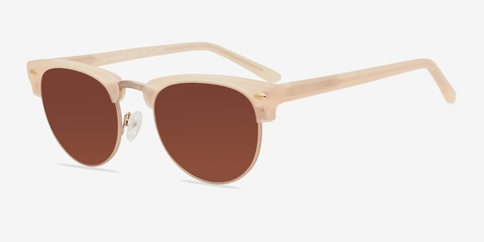 The Hamptons Matte Beige Metal Sunglass Frames from EyeBuyDirect, Angle View
