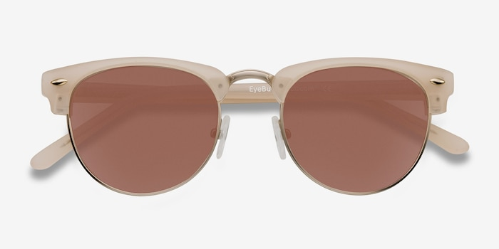 The Hamptons Matte Beige Metal Sunglass Frames from EyeBuyDirect, Closed View
