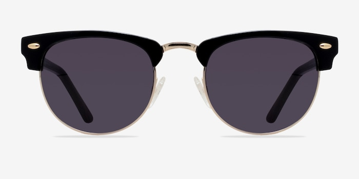 The Hamptons Black/Golden Acetate Sunglass Frames from EyeBuyDirect, Front View