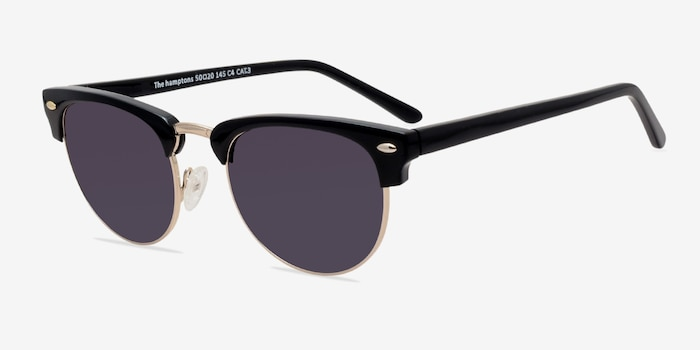 The Hamptons Black/Golden Acetate Sunglass Frames from EyeBuyDirect, Angle View