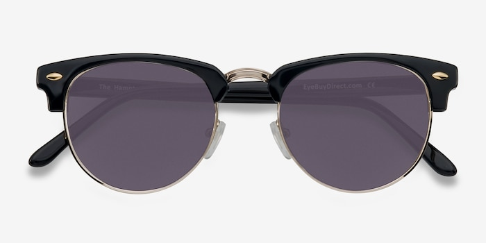 The Hamptons Black/Golden Acetate Sunglass Frames from EyeBuyDirect, Closed View
