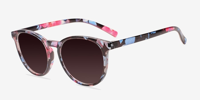 Deja Vu Blue/Floral Plastic Sunglass Frames from EyeBuyDirect, Angle View