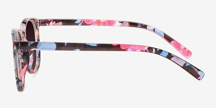Deja Vu Blue/Floral Plastic Sunglass Frames from EyeBuyDirect, Side View